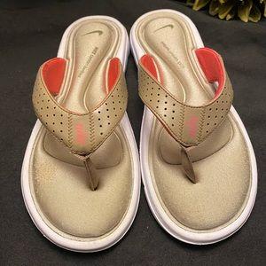 Nike Memory Foam Flip Flops,Sandals, Beige, Size:7